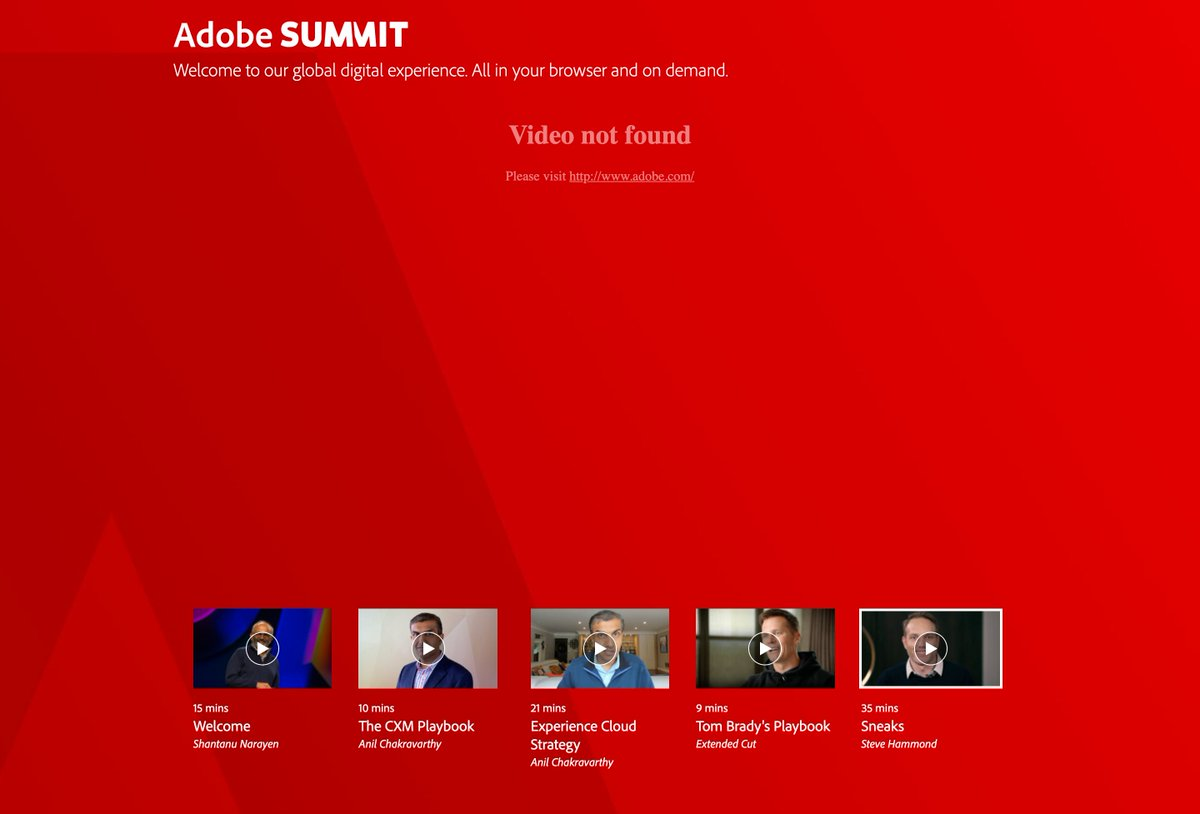 liquidice13: @AdobeSummit I'm unable to access the 35min 'Sneaks' session https://t.co/yxAZrd3blY