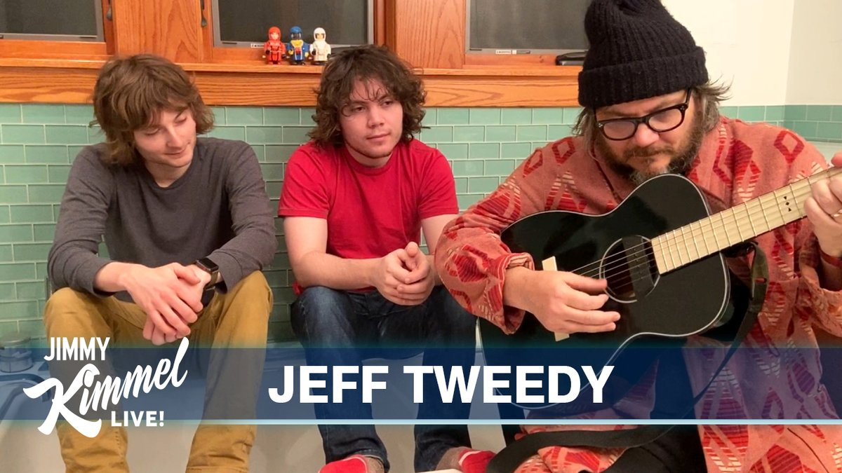 .@JeffTweedy & Sons with a lovely performance of @Wilco's #Evergreen from their bathroom at home... #JimmyKimmelLiveFromTheLavatory