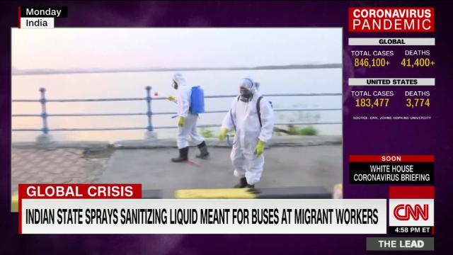 Indian state sprays migrant workers with sanitizing liquid meant for buses @kileycnn reports