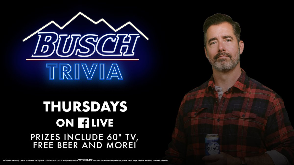 We had so much fun (and beer) with y'all during Busch Trivia last week, we decided to make this a weekly event! Tune into our Facebook Live every Thursday night at 6 pm CDT for your chance to win some awesome prizes and support the US Bartenders Guild. Tag your drinking buddy 🍻