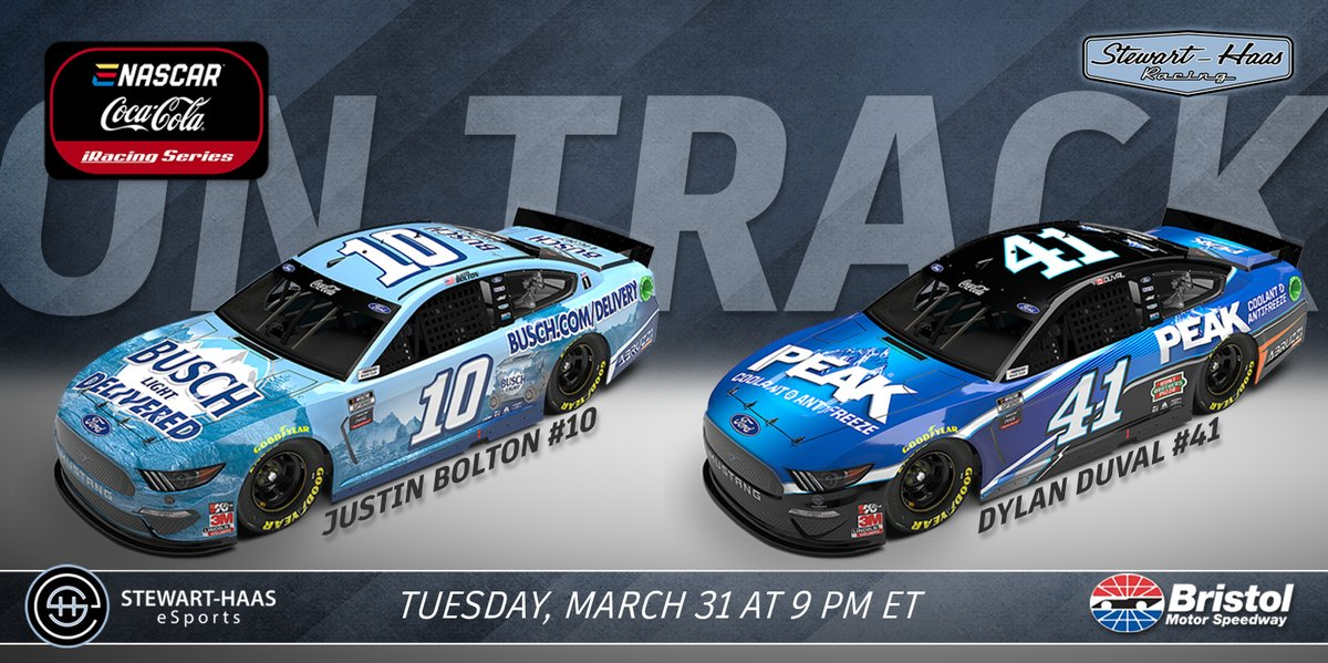 """Alright, alright! @SHR_eSports is on-track tonight at virtual @BMSUpdates for the #eNASCAR Coca-Cola @iRacing Series event. 💪  Drivers: @JustinBolton99 - No. 10 """"Get @BuschBeer Delivered"""" Ford @DDuval42 - No. 41 @PeakAuto Ford   Tune in! 📺  ⏰ 9 p.m. ET"""