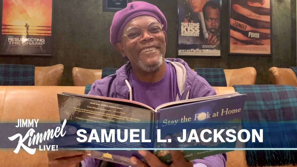 The coolest man in quarantine joins us with an important and profane message... @SamuelLJackson #StayTheFAtHome #JimmyKimmelLiveFromHisHouse