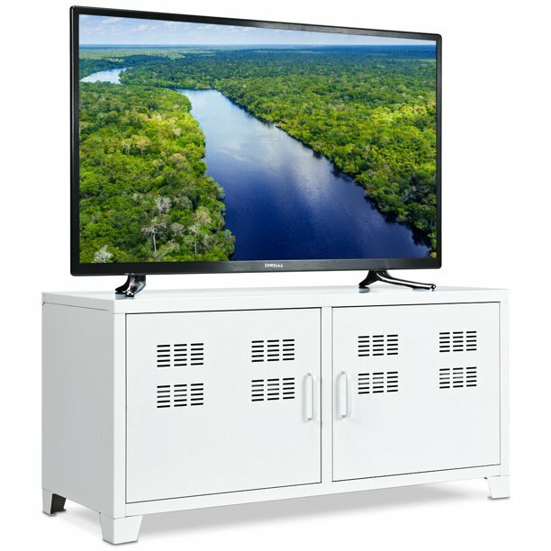 40 inch tv cabinet : Gymax Entertainment Center TV Stand Two Doors Media...