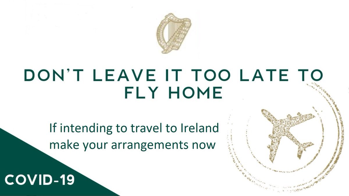 test Twitter Media - ⚠️ We continue to encourage Irish 🇮🇪 citizens who are in Canada 🇨🇦 on short term visas & who are concerned about their situation to make arrangements to return home now. Indirect flight options still exist between Canada 🇨🇦 & Ireland 🇮🇪. Follow @dfatravelwise for latest advice. https://t.co/bByhLDokAq