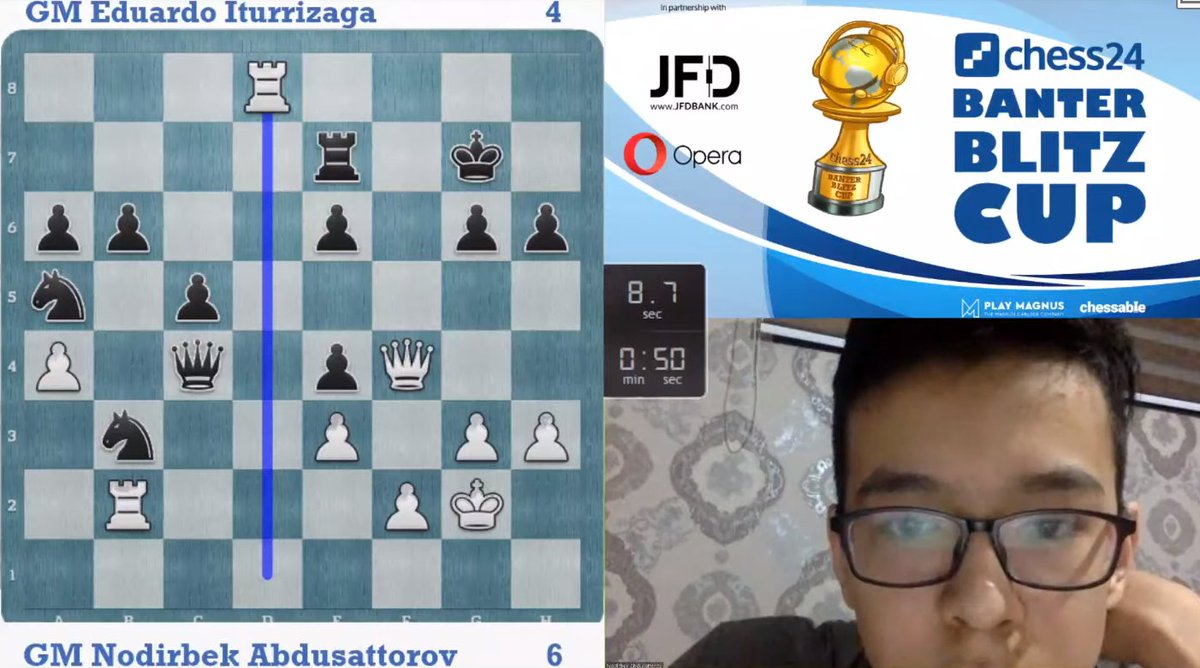test Twitter Media - A very tough battle, as Nodirbek moves to 6:4 - first to 8.5 wins! https://t.co/FCl1LAtlE9  #c24live #BanterBlitzCup https://t.co/M0bj4Wjvzh