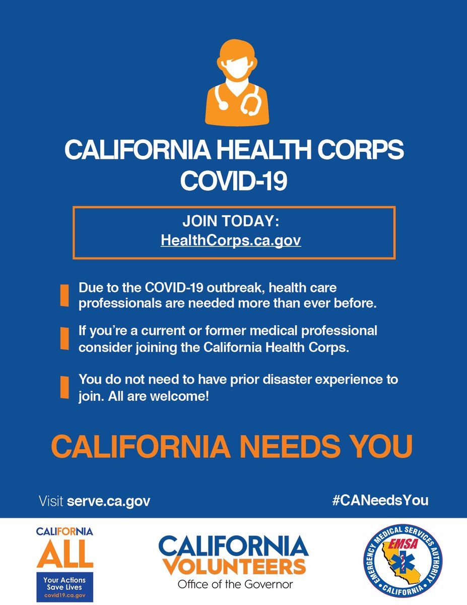 Per @CAgovernor @GavinNewsom, in only 48 hours more than 34,000 people have signed up for the California Health Corps! Yet again the incredible spirit of Californians shines through. Thank you all 👏👏👏  Are you interested in joining? Head to