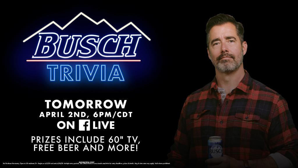 Hey guys, Busch Guy here, reporting from my couch. I gotta be honest, I'm getting antsy for Busch Trivia tomorrow night. So, I'm gonna go ahead and ask a practice question:  If I got so bored that I decided to switch things up with a new facial hair style, what would I go with?