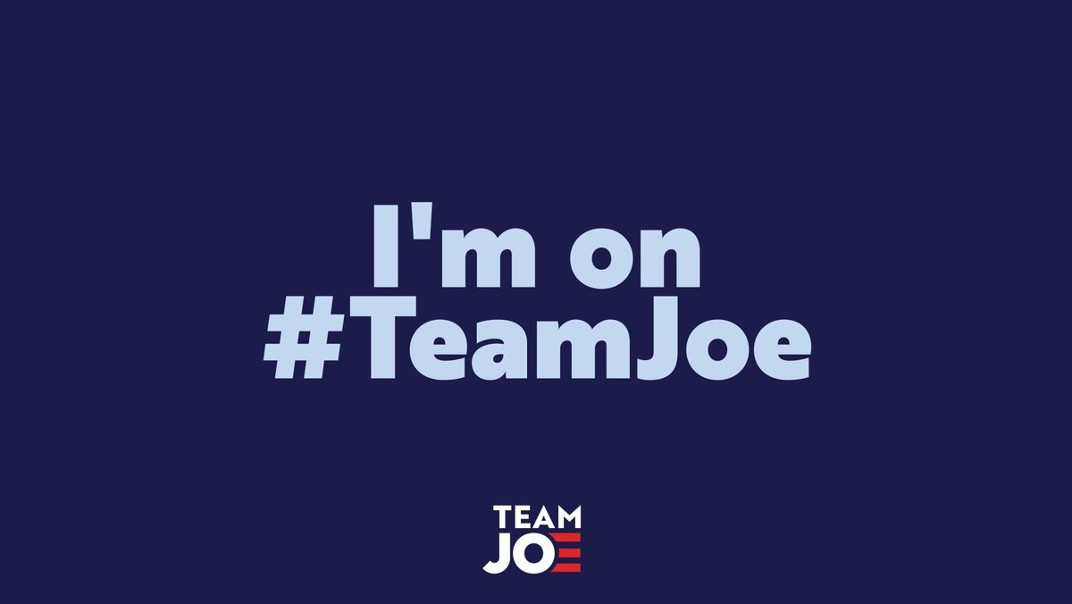 In these uncertain times, @JoeBiden has proven himself to be the empathetic, level-headed, and unifying leader that we need to get through this.   We're proud to be on #TeamJoe.