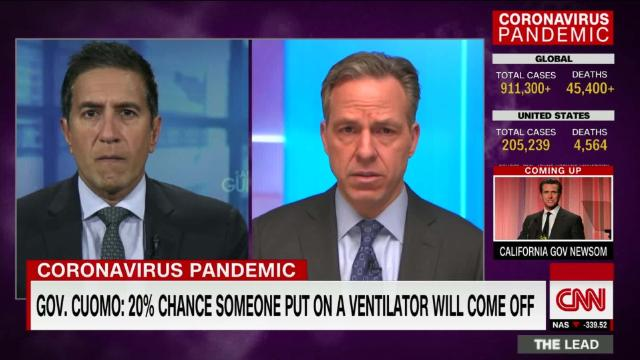 New York Gov. Cuomo says only 20% of patients who are put on a ventilator will survive @drsanjaygupta reports