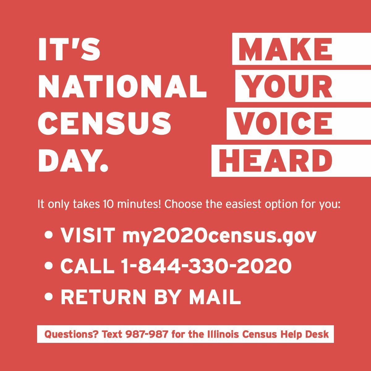 Today is #NationalCensusDay.   It's incredibly important to make sure every Illinois resident – from newborn babies to great grandparents – is counted in the census.