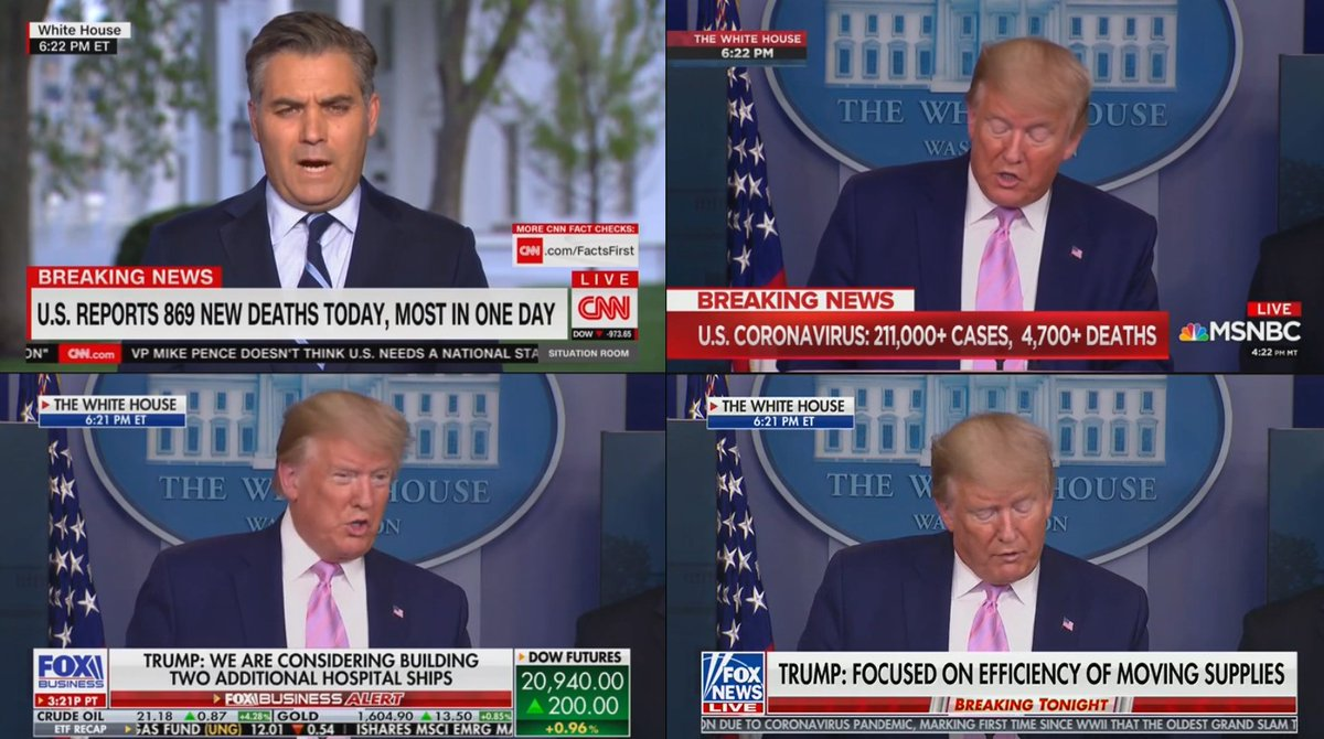 Apparently CNN thinks an update on the coronavirus from Jim Acosta is more important than one from the President of the United States