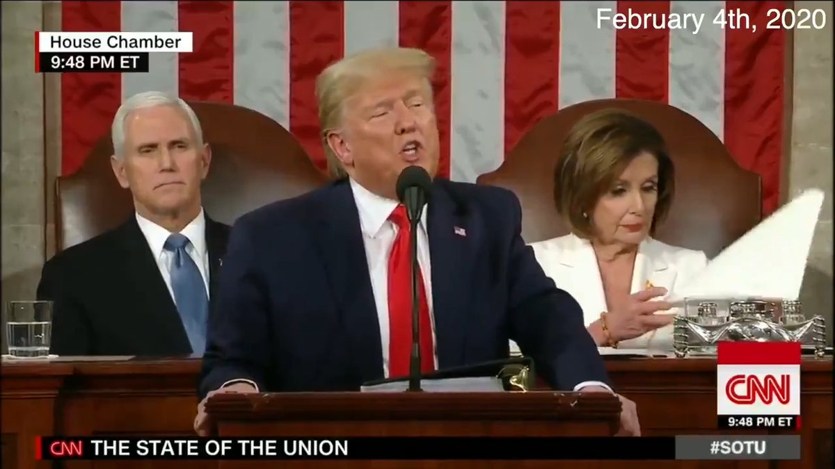 While Nancy Pelosi was testing the thickness of speech pages she was about to rip up, and before the Senate acquittal vote had even happened...  @realDonaldTrump highlighted that he had already mobilized to fight the virus.  In his SOTU speech on Feb. 4.