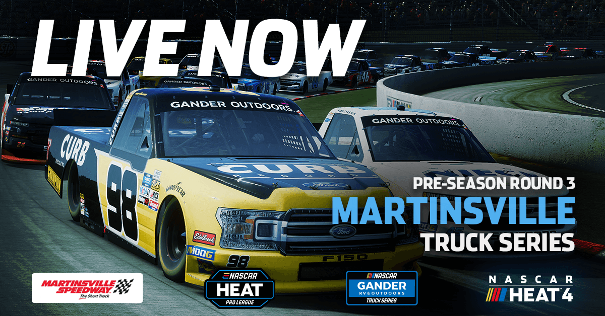 We are now LIVE for the final round of the 2020 #eNASCARHeat Pre-season from @MartinsvilleSwy on Twitch and Facebook.  We're racing in trucks tonight!  Tune in right now!    @NASCAR #NASCAR