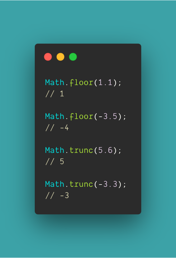 In Javascript, if you need to round down a float, you can use Math.floor, but what if the number can be negative? Doing Math.floor on -2.5 will round down to -3. Maybe, what you really want is Math.trunc, which will always just remove any decimal. #100DaysOfCode #javascript https://t.co/awlHhi0XkT
