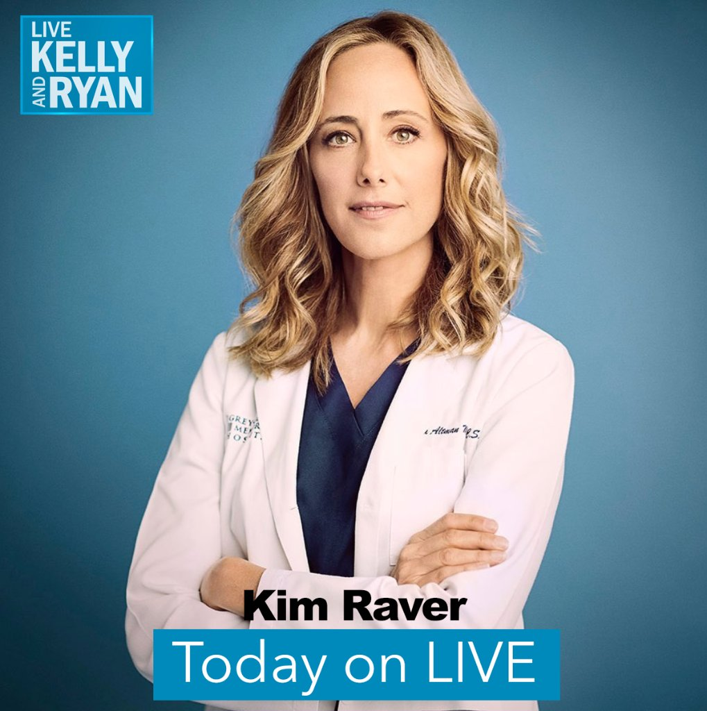 .@GreysABC's @KimRaver will be joining @LiveKellyRyan today for a virtual interview from their homes!