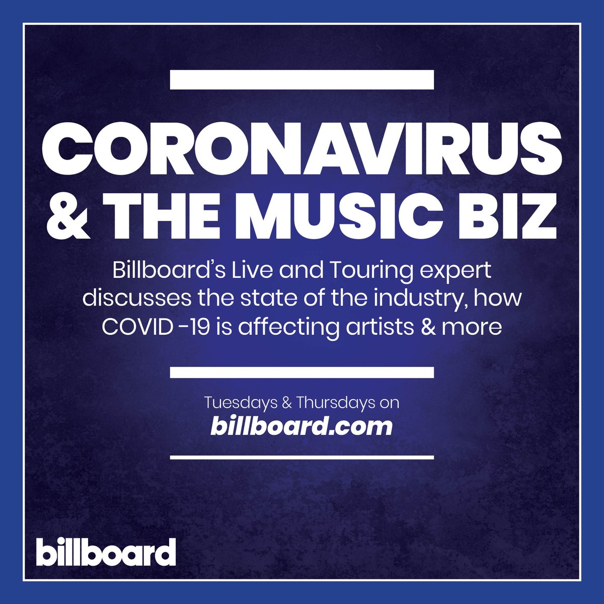 Do you have questions about how the #coronavirus is affecting the music industry? 🤔  Submit them below and our touring & live entertainment expert will answer them live at 2 pm ET https://t.co/BqYkOEb5tZ https://t.co/NUI4gdzeNZ