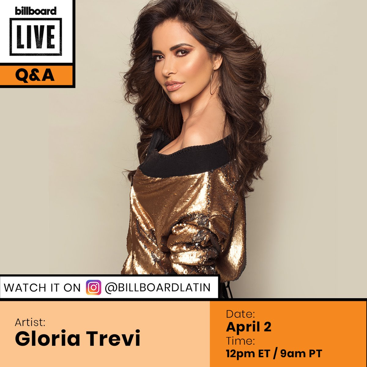 Don't miss our #BillboardLive Q&A with @GloriaTrevi on @billboardlatin's Instagram today!   Tune in at 12 pm ET: https://t.co/sBGM1hmc39 https://t.co/2cK2cgSsZ7