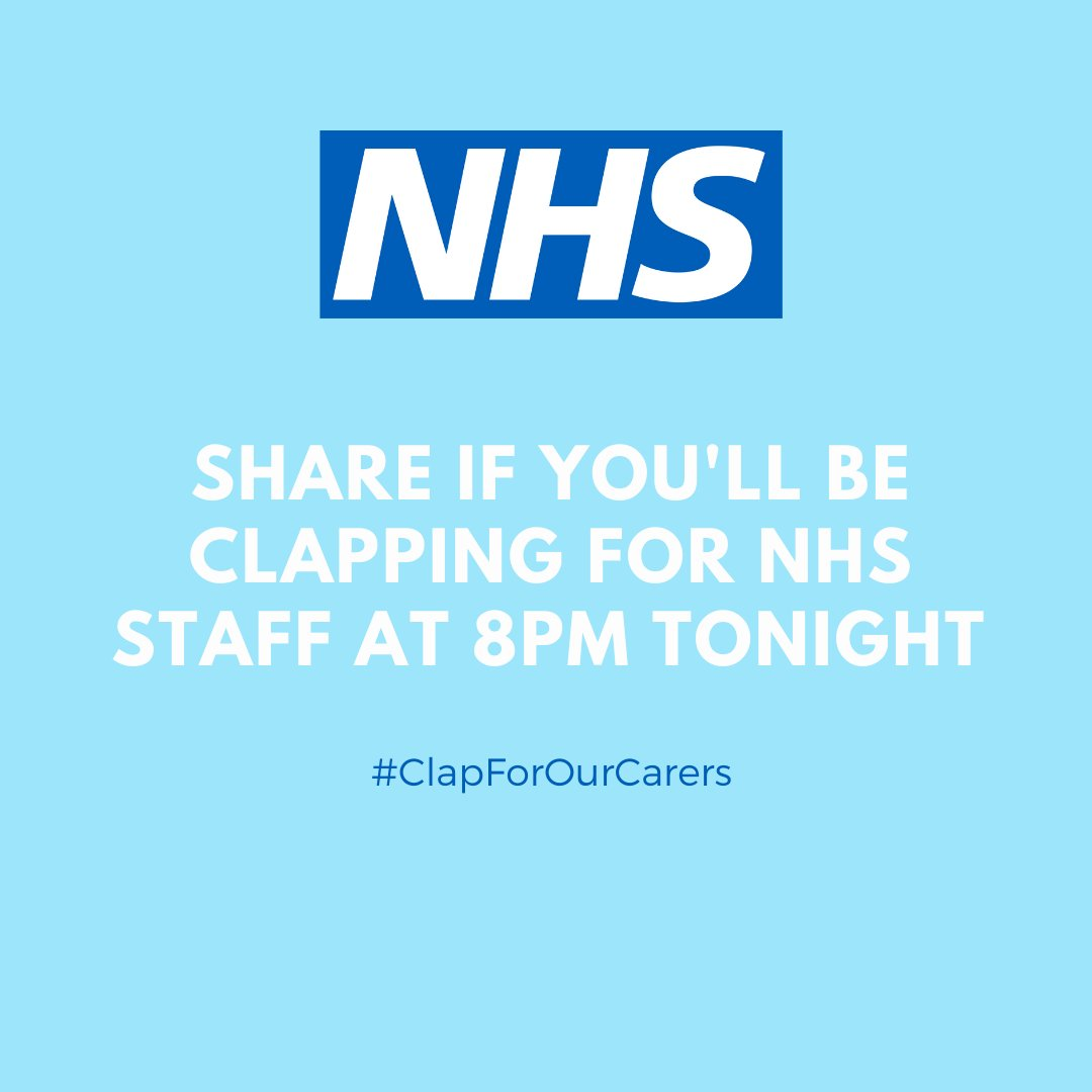 Retweet if you'll be clapping for NHS staff at 8pm tonight 💙