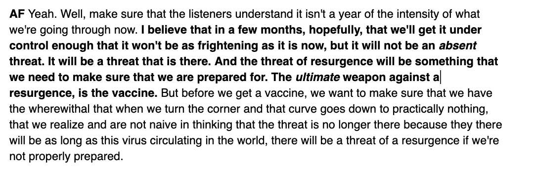 A sobering quote from Fauci from our interview on today's Daily: