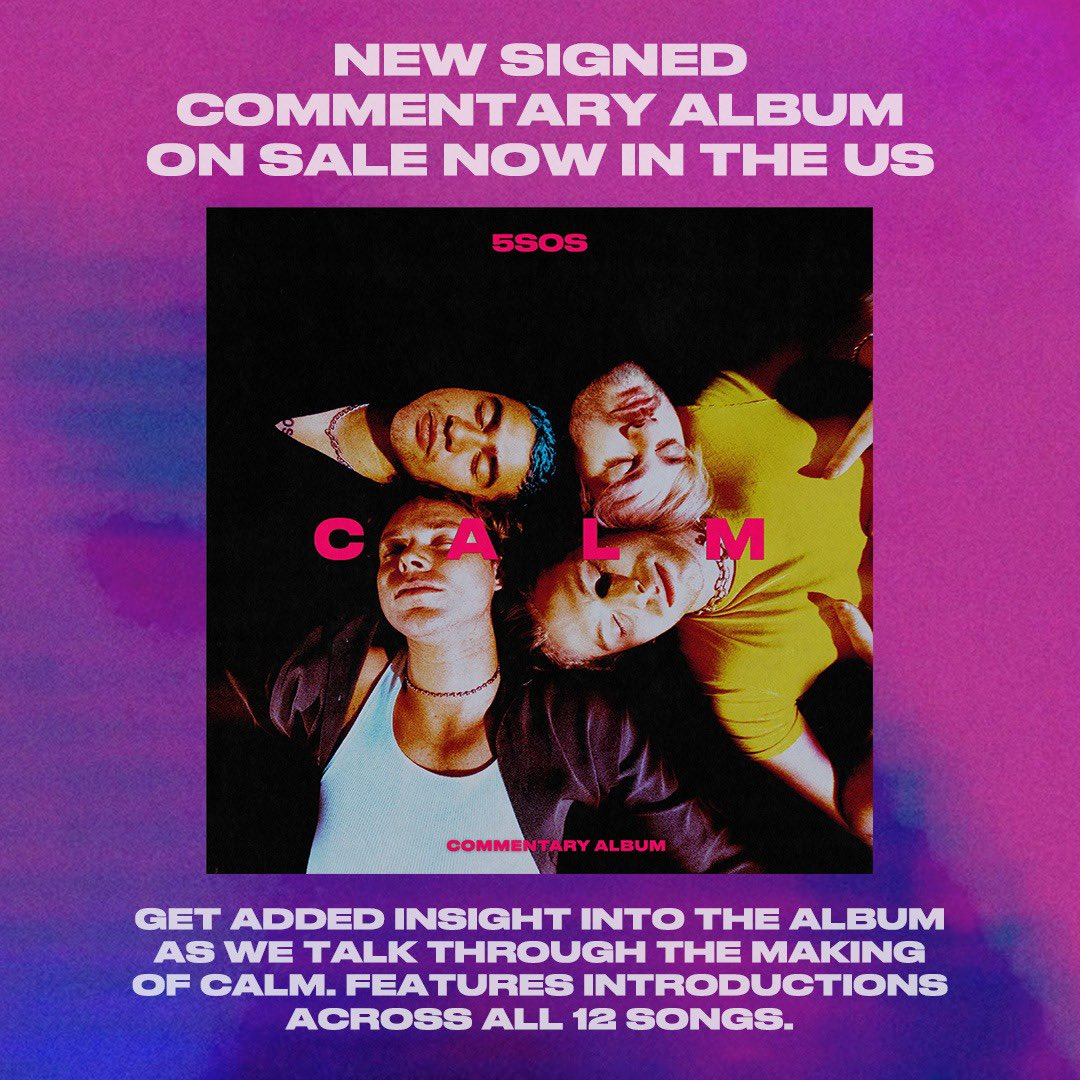 New signed C A L M commentary album on sale now in the US // Features personal intros across all 12 songs //
