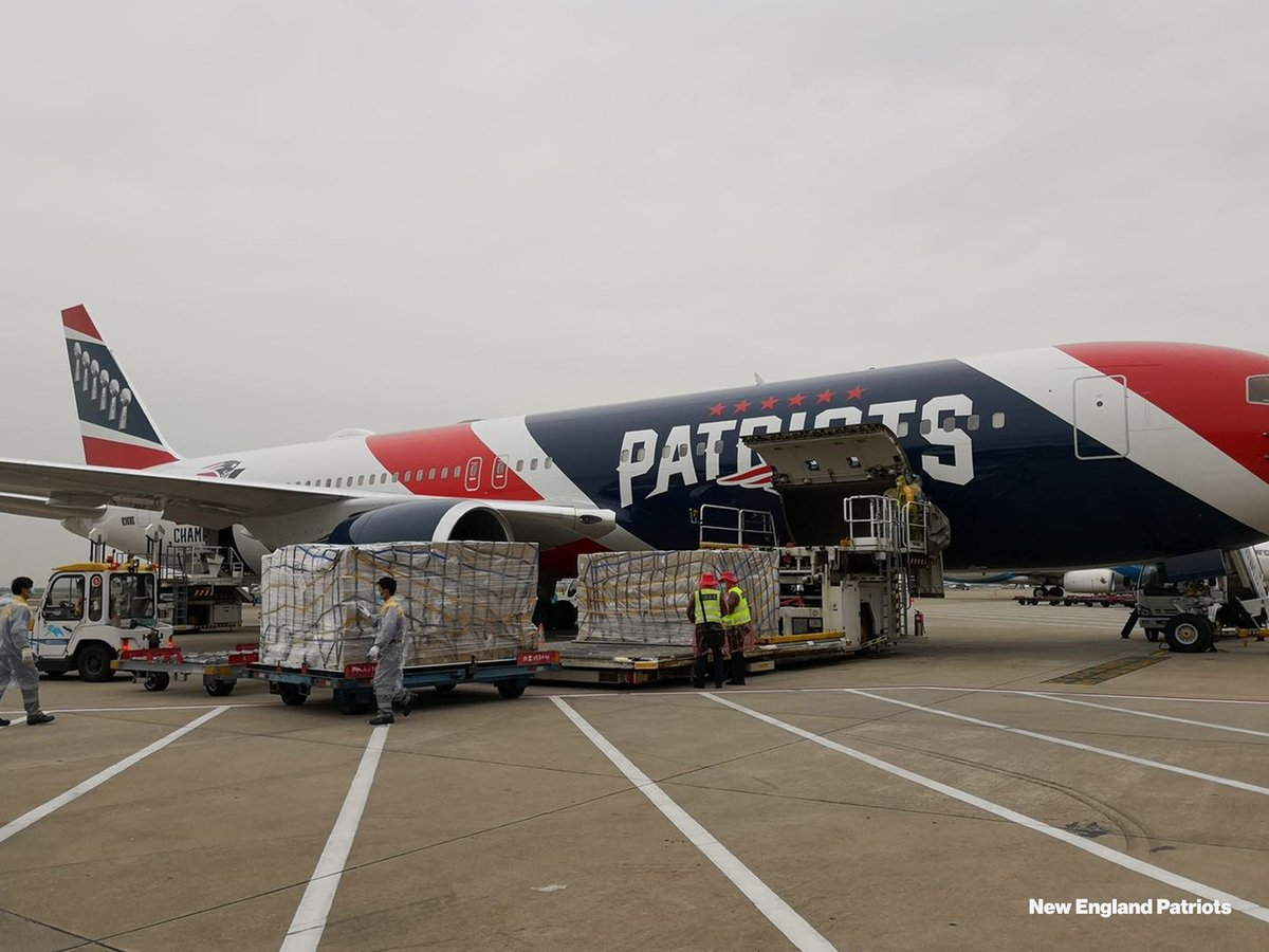 New England Patriots plane transports 1.7 million N95 masks from China amid coronavirus pandemic.  Owner Robert Kraft partnered with Gov. Charlie Baker to purchase the masks.