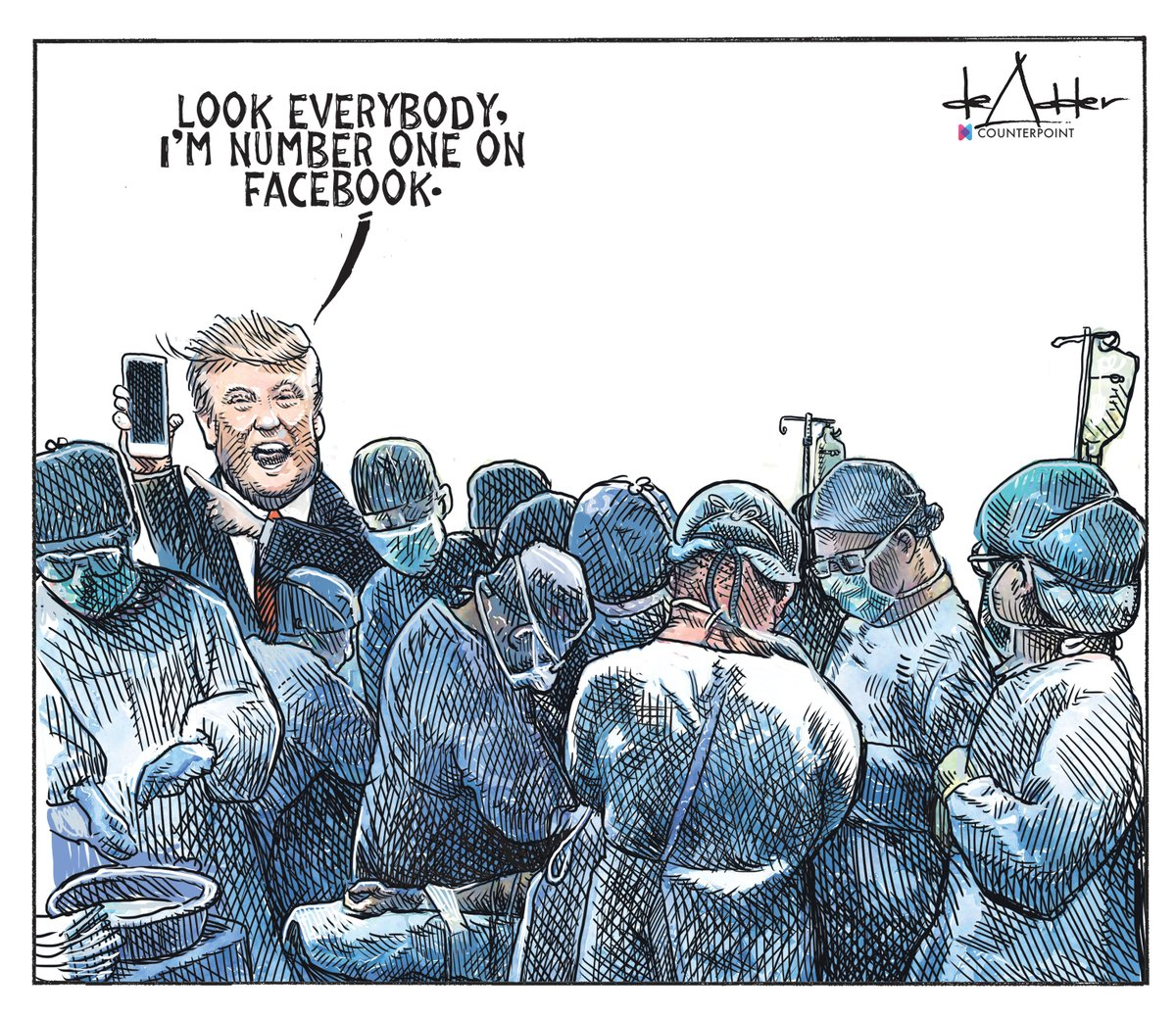 Cartoon for April 2. #coronavirus #COVIDー19 #Trumpdemic #Facebook