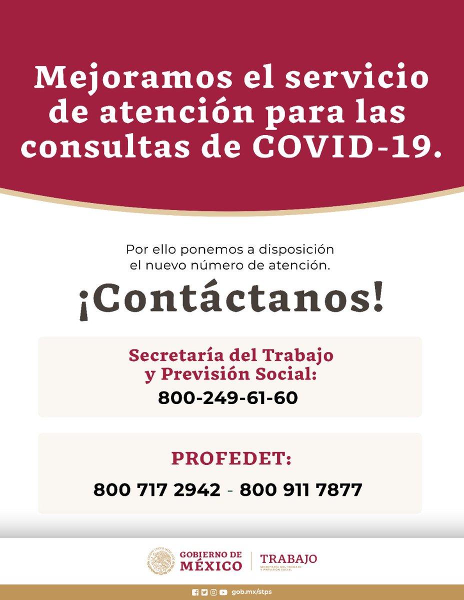 Mejoramos el servicio de atención telefónica para asesorarte sobre la situación laboral ante el #COVID19.  Ponemos a tu disposición el nuevo número:  👉 800 249 61 60  @PROFEDET:  👉 800 717 29 42 / 800 911 78 77  ¡Llámanos!  #MéxicoSolidario #MéxicoUnido