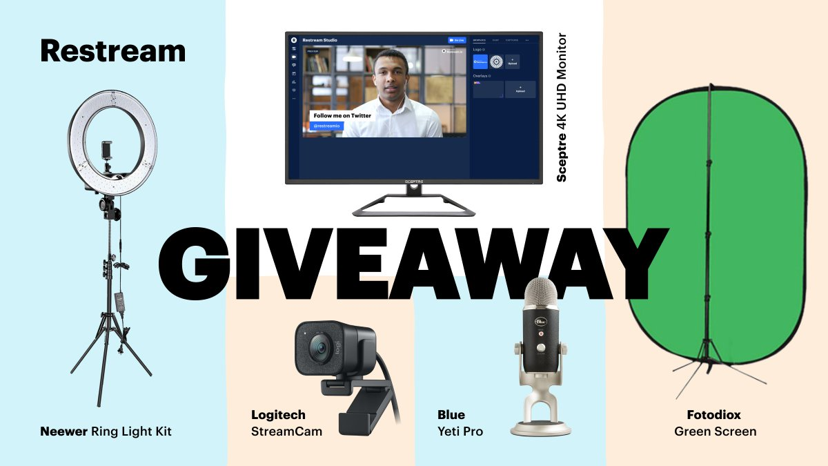 It's time to win the ultimate Restream Studio setup! 🎉  You could take home a 4K Monitor, Blue Yeti Pro, Logitech StreamCam, Green Screen, and a Ring Light!  👋 Tag Your Friends  🔔 Turn Notifications On  💞 Retweet, Like & Follow  👉 Enter Here: