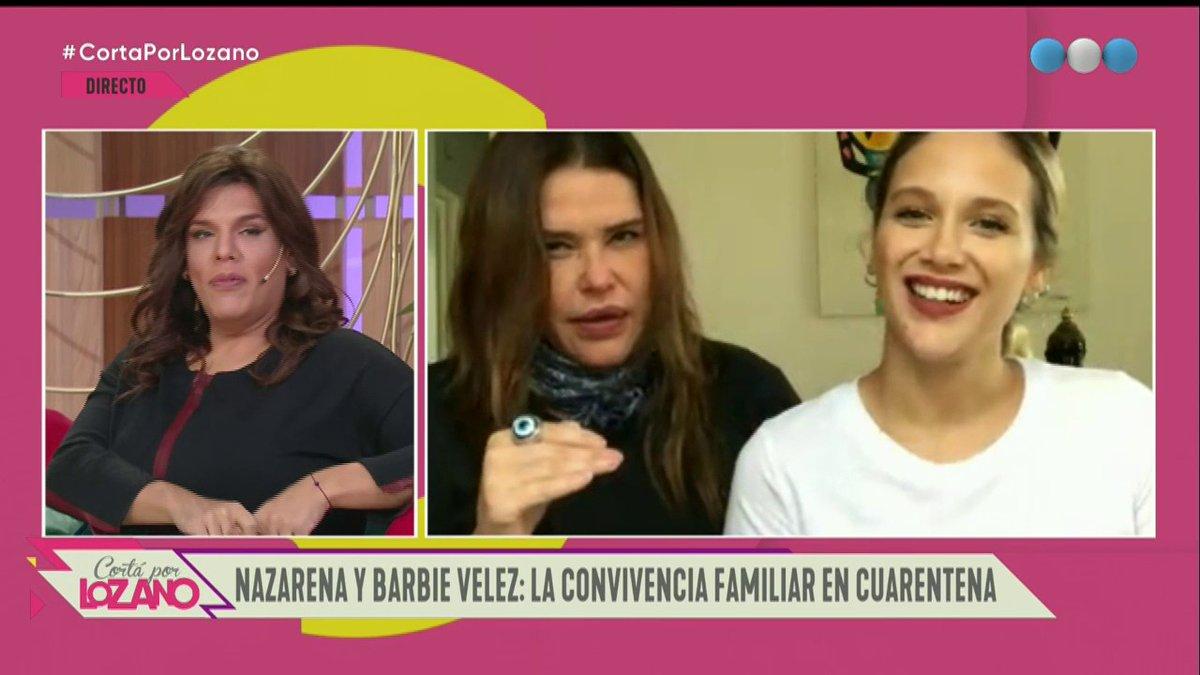 """[#CortaPorLozano] ¡MADRE E HIJA EN CUARENTENA! ❤ Visitan el """"diván virtual"""" de @verolozanovl: ¡@veleznazarena  y @barvelez! 🙌👭 https://t.co/Uw15KMzToT"""