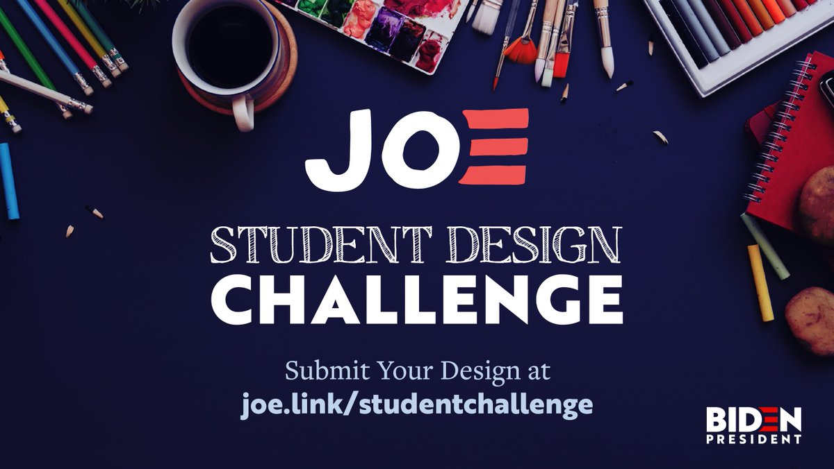 🗣CALLING ALL #STUDENTSFORBIDEN! Let your creativity shine! 🖍  Want to see your creative design on a #TeamJoe t-shirt or button? We want to see your ideas! Enter our Student Design Challenge ➡️