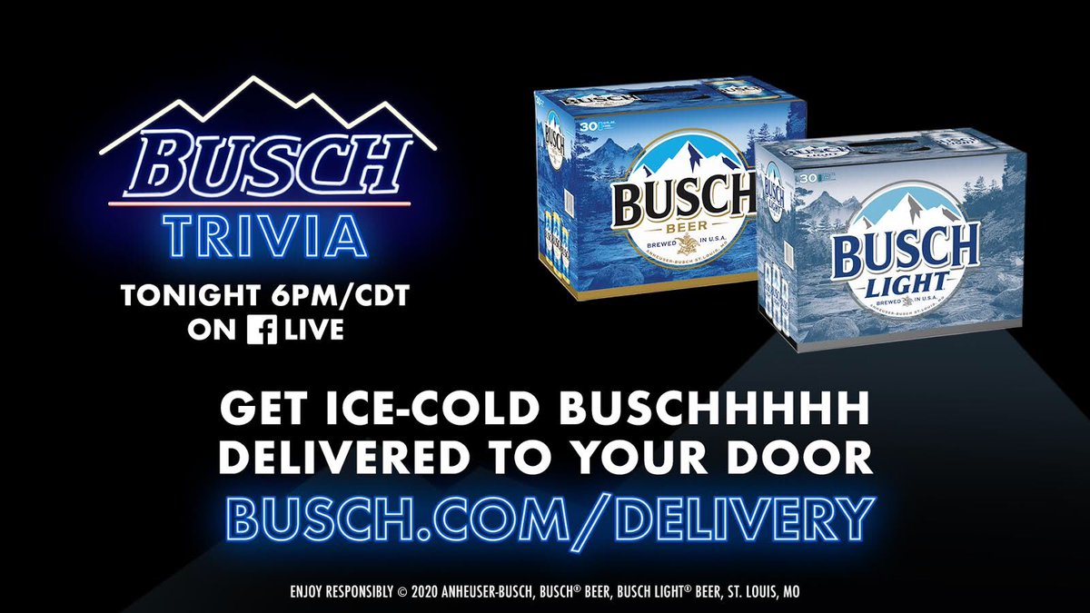 Busch Trivia starts in 2 hours on our Facebook page! Go to  to make sure you're stocked!
