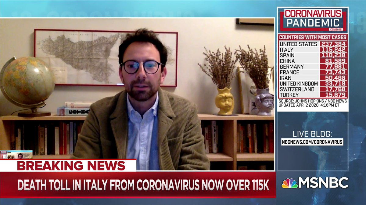 """""""Italy... looked to China and thought 'that isn't us'... the rest of Europe and the United States looked at Italy and thought 'that's not going to happen to us either'... This virus certainly doesn't care what nationality you are"""" - @jasondhorowitz w/ @NicolleDWallace"""