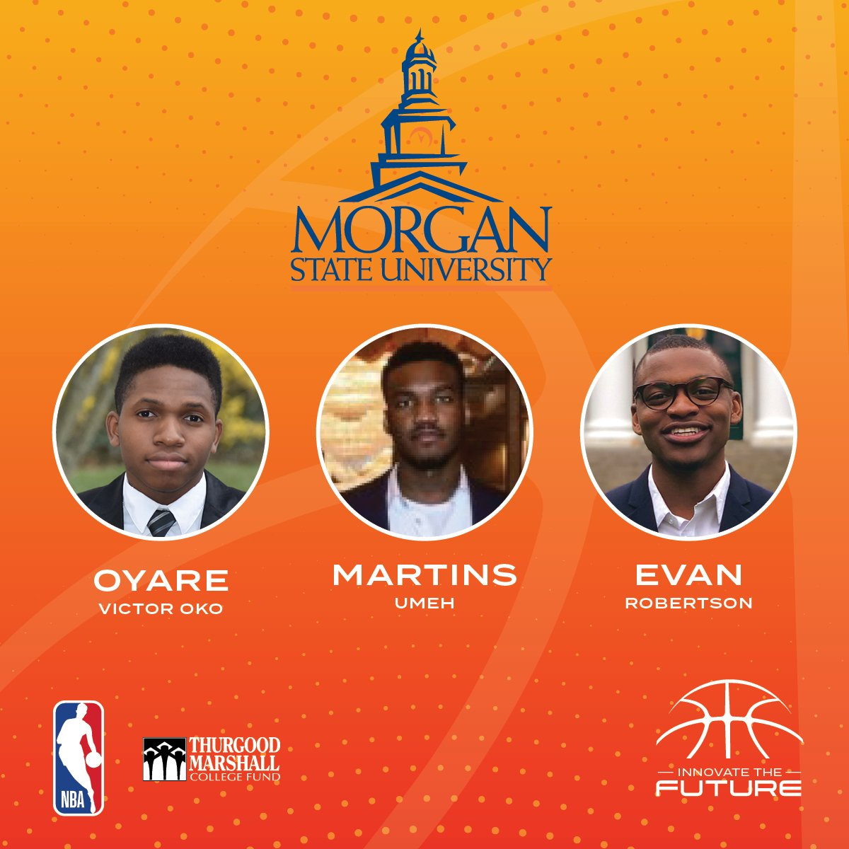 """Congratulations to the scholars from @MorganStateU on winning the virtual @tmcf_hbcu """"Innovate the Future"""" Business Competition!  Each scholar will receive the David J. Stern Sports Scholarship towards their continued education!  #NBATogether #ActsofCaring"""