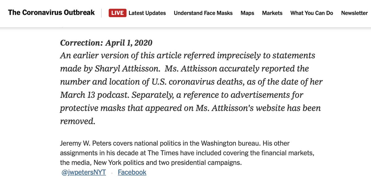 """""""New York Times Makes Major Corrections to Defamatory Jeremy Peters article about Sharyl Attkisson."""" I'm embarrassed for @jwpetersNYT @carolynryan  ...but that doesn't excuse shoddy journalism.  Please RT Read more here:"""