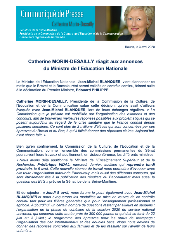 RT @C_MorinDesailly: [Communiqué 🗞] Ma réaction suite aux annonces du Ministre de l'Éducation Nationale