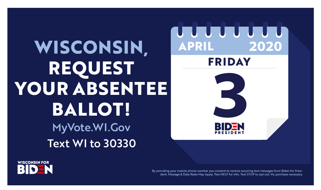 Wisconsin — you have until 5 PM CT tonight to request your mail-in absentee ballot ahead of next week's primary. Head to  to request yours today.