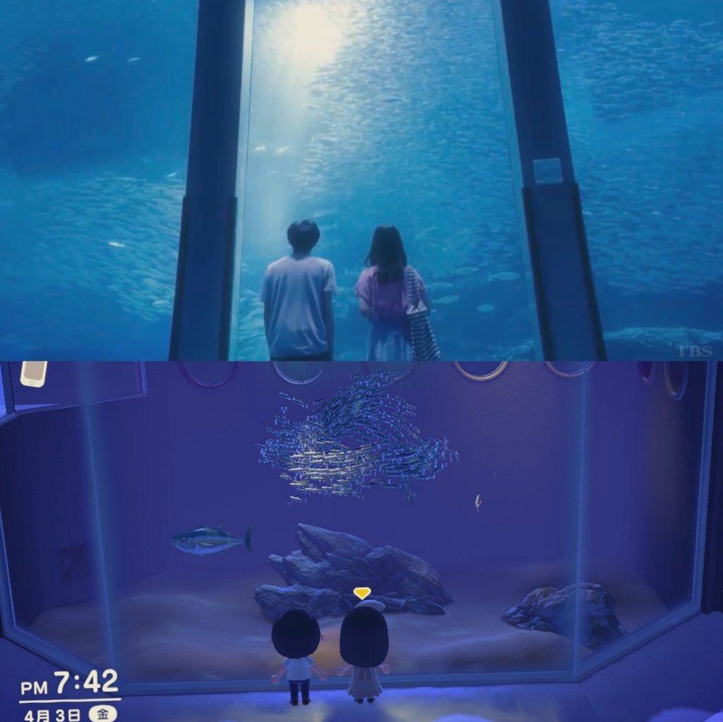 test ツイッターメディア - あつ森で凪と慎二の水族館デートを再現してみた https://t.co/6ARYQAx1AR