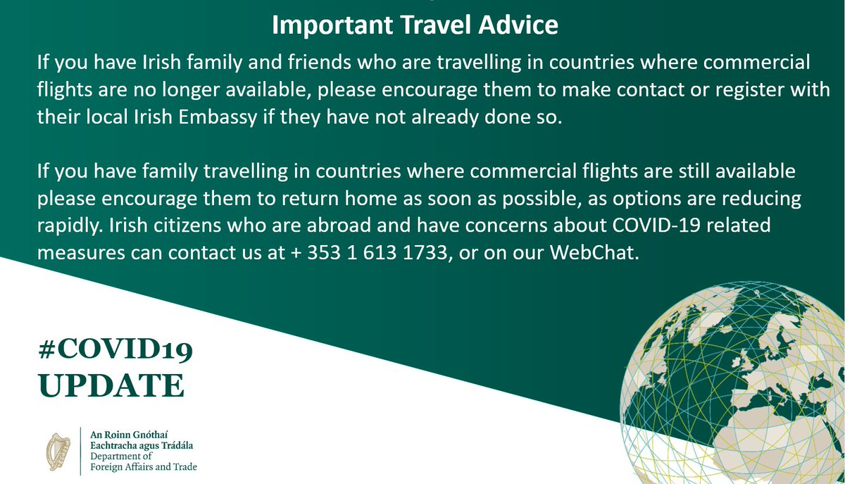 test Twitter Media - All Irish citizens travelling abroad should use commercial options to fly home where still available and register with their local Embassies, which can be found at https://t.co/aGBA3yDUUs https://t.co/JlbovdbYiC