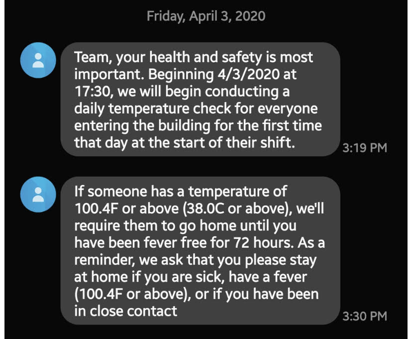 Starting today, all @Amazon workers will have their temperature taken as they enter the workplace. If they are over 100.4, they are sent home.   But here is the thing: Under Amazon's current policy, many workers sent home will NOT BE PAID
