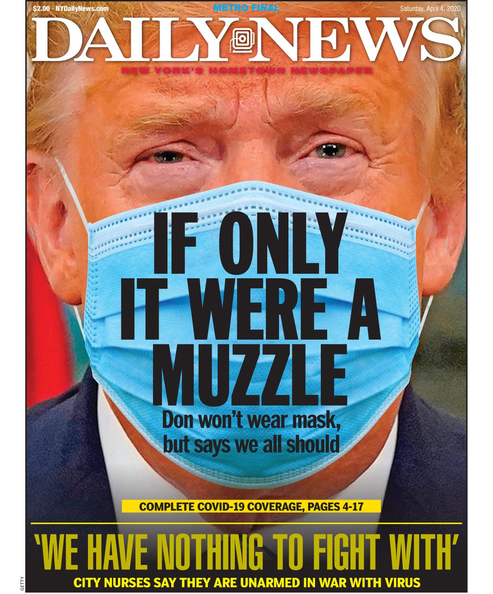IF ONLY IT WERE A MUZZLE  Trump urges Americans to wear face masks in public to fight coronavirus — but says he 'won't be doing it'