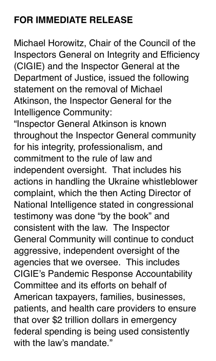 """Late last night, DOJ inspector general Michael Horowitz—who also chairs CIGIE—released this striking statement: """"IG Atkinson is known throughout the Inspector General community for his integrity...That includes his actions in handling the Ukraine whistleblower complaint."""""""