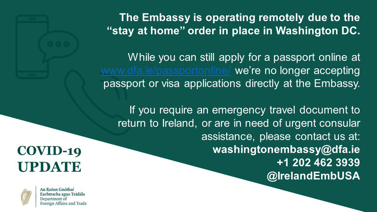 test Twitter Media - Our first priority at the Embassy & @dfatirl Consulates is the welfare of 🇮🇪 citizens in the 🇺🇸. While our offices are closed physically, we're always available online & by phone. If you've questions about returning home or other consular issues, get in touch. We're here to help. https://t.co/ZnjzABcp8x