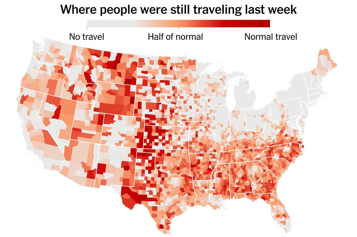 The New York Times used cell phone data to assess which area of the country stayed home last week. The Greater Lakes states crushed it! #FlattenTheCuve