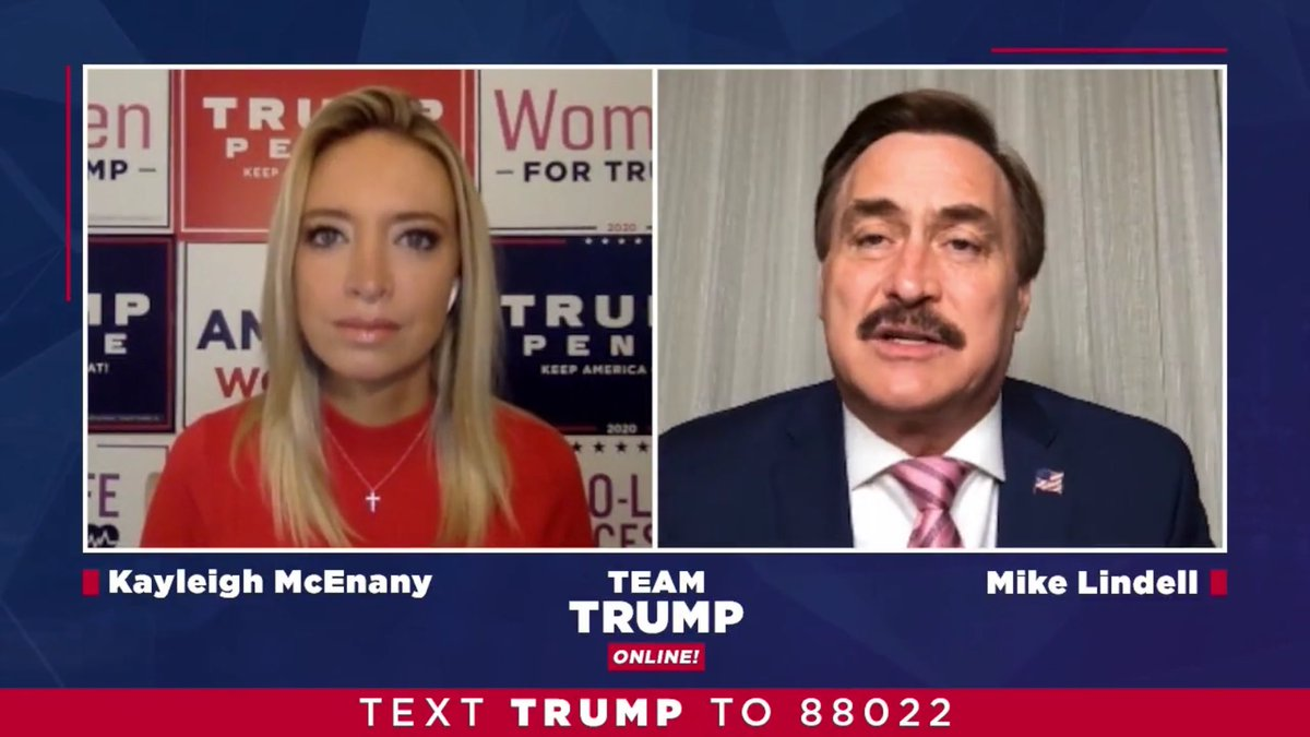 Our @TeamTrump online is on a roll!  More than 1 MILLION unique viewers of @kayleighmcenany's talk with @realMikeLindell of My Pillow Friday night.  Mike's company is making 50K masks a day for the virus effort.  Sleepy Joe can't draw that size audience and he's the candidate!