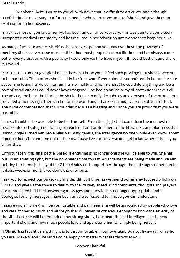 I am not completely sure how to announce this news. I hope reading this gives you some understanding of the current situation. Much love - Mr S.