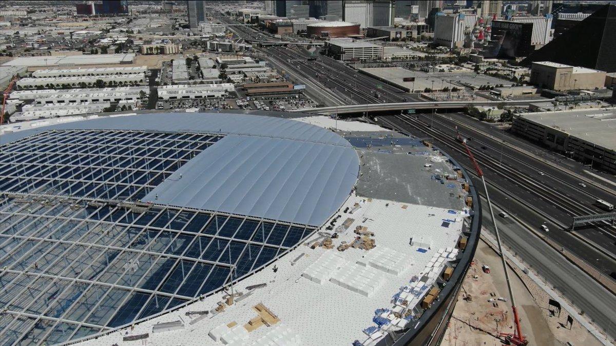 ETFE roof installation update at Allegiant Stadium. #vegas #raiders #stadium  📸 @Vegas88s