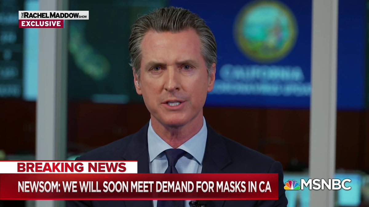 🔥@GavinNewsom says #California just inked a deal for 200 million #masks (150 million N95, 50 million surgical) *per month*, enough to meet #CA' needs and potentially export to other states.😃  Meanwhile, @realDonaldTrump fiddles, while Rome burns.🤬