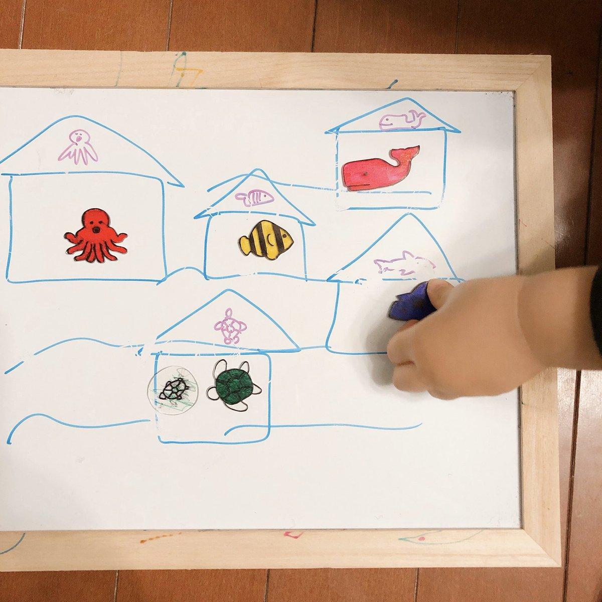 test ツイッターメディア - 懐かしのプラバンで魚たち作ってホワイトボードで魚のおうち合わせ遊び。左側の亀は息子が色塗り。 https://t.co/Z84LETE3ui