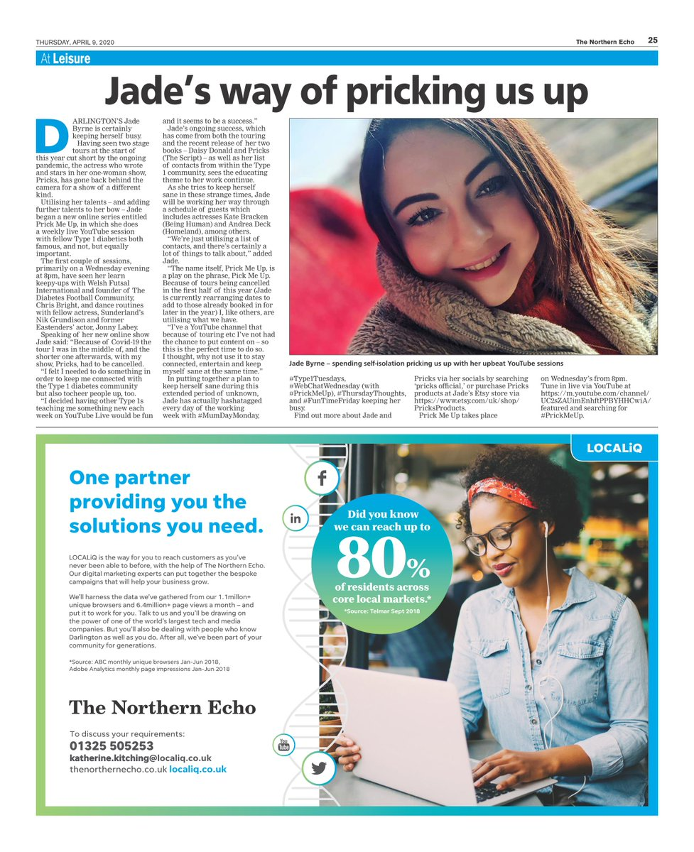 test Twitter Media - Keeping sane, and in touch with fellow #Type1 #Diabetics, actress #JadeByrne (aka @Pricks) is doing wonders with her #WebChatWednesday show on her YouTube channel - today's #AtLeisure in @TheNorthernEcho (p25) takes a look at the new webseries as well as a rearranged tour update https://t.co/tLADTgYyIQ
