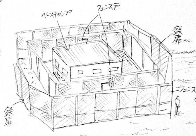 test ツイッターメディア - 実はウォーキングデッドのS3で、刑務所を見てからヴァルシュタのハンター本部の設定が変わった。ドラマでは刑務所の周りを高いフェンスが二重に囲み、鉄扉が付いていた。 それまでのヴァルシュタでは、テント的な簡易的に建てられたものを想定していたけど、「フェンスええやん!!!」となり変更。 https://t.co/MmuZskikSU